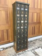 Antique Us Post Office Box Metal Cabinet Combination Lock 24 Vintage Mail Boxes
