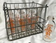 Vintage Milk Crate And Bottles Indian Hill Farm Dairy Greenville Maine Chief