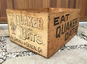 Xl Vintage Wooden Crate Quaker Oats American Cereal Wood Advertising Box Chicago