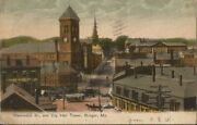 Antique Picture Post Card Hammond St., And City Hall Tower, Bangor, Me 1910
