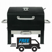 Portable Charcoal Grill Outdoor Yard Bbq Tailgate Cooking Black Stainless Steel