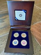 2011 - 2012 Canadian Mint Full Moon Sterling Silver And Niobium 4 Coin Set And Case