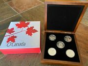 2013 Canadian Mint 25 Fine Silver O Canada - 5 Coin Set With Presentation Case