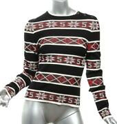 2019 Black Red Knit No. 5 Print Pullover Sweater New W/ Tags Fr34 Us2