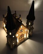 Dickens Collectables Village Steepled Tower Church Porcelain Lighted House 1995