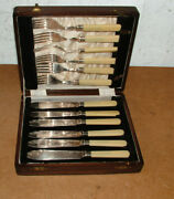 Antique 12 Piece Silver Plate Knife And Fork Cutlery Set In Original Mahoghany Box