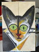 Teri Moores Art And039and039new Cat In Townand039and039 Original Acrylic On Canvas 2 Piece 24x 36