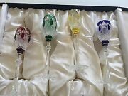 New In Box Signed Faberge Czar Multi-color 9.5 Sherry Wine Glasses Set Of 4