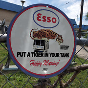 Vintage 1960 Esso Extra And039and039put A Tiger In Your Tankand039and039 Porcelain Gas And Oil Sign