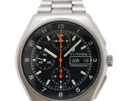 Tutima Military Chronograph Lemania 5100 Automatic Steel Black Dial Menand039s Watch