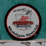 Vintage 1950 Socony-vacuum Mobilgas Special Porcelain Gas And Oil Pump Sign