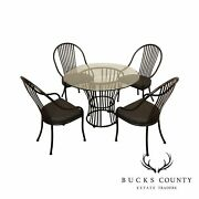 John. Casuals Postmodern Wrought Iron Round Glass Top Dining Table, 4 Chairs Set