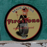 Vintage 1950 Firestone Tires And039and039consistently Goodand039and039 Porcelain Gas And Oil Sign