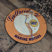 Vintage 1959 Gulf Pride Oil Finest Lubricant Porcelain Gas And Oil Pump Sign