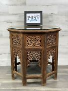 Antique Anglo-indian Moorish Hand Carved Wooden Octagonal Table With Glass Top