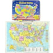 Map Of The United States Jigsaw Puzzle 84 Pieces Milton Bradley Complete