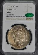 1921 Peace Dollar High Relief S1 Ngc Ms63 Cac