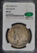 1921 Peace Dollar High Relief S1 Ngc Ms64 Cac