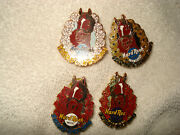 Hard Rock Cafe 4 Las Vegas Hotel Horse Racing Pins 2003 And 2004 Crown Derby Rare