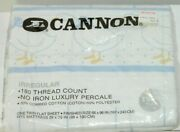 Cannon Vintage Nos Twin Flat Bed Sheets Square Pattern Goose Graphic White Blue