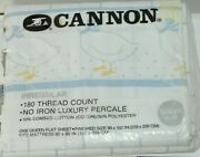 Cannon Queen Flat Bed Sheets Square Pattern Goose Graphic White Blue Vintage Nos