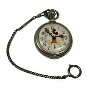 Vintage All Original Mickey Mouse Pocket Watch Walt Disney Productions Made Usa