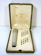 Antique French Carved Sterling Silver And Vermeil Umbrella Set Louis Xvi Marks Box