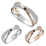 Two Tone Cross X Ring Band For Women Mens Cocktail Party Ring Gift Size 5-11