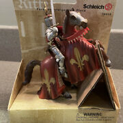 Nip Schleich Knight Reared Up Horse Fleur De Lis Red And Gold Retired 70018