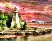 Painting By Numbers Coloring Picture Diy Home Craft Seagull Lighthouse Sea Rocks
