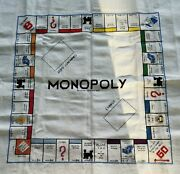 Vintage Finished Cross Stitch Monopoly Game Board Completed Needlework Unframed