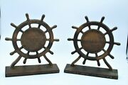 Antique Old Ironsides U.s. Frigate Constitution 1927 Ships Wheel Bookends