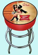 Miller High Life Bar Stool Fire Dept. Sexy Woman On Pole - New - One Of A Kind