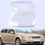 For Volkswagen Jetta Tdi 1999-2005 Pair Headlight Lens Headlamp Cover Clear Abs
