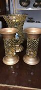 Partylite Global Fusion Stained Glass 2 Column Pillar Hurricane Candle Set