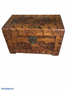 Wooden Chest Jewelry Box Carved Raised Roses Leaves Scene . Hinged Lid .