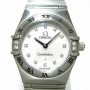 Secondhand Omega Constellation Wristwatch Shell Dial 12p Diamond Index 4p Bezel