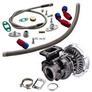 T04e T3/t4 A/r .63 400+hp Stage Boost Turbo Charger+ Oil Line Kit V-band Flange