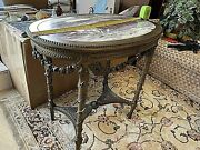 Antique 19th Century French Table. Marble Top, Well Carved. Garlands, Roses,