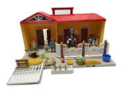 Playmobil Take Along Country Barn Stable Luna And Monty 90513 2011 + Accessories