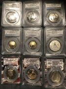 2019 Apollo 11 Set Gold 5 Silver 1 Clad 50c Proof And Business Rev Proof 50c