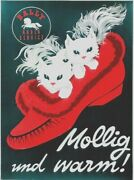 Original Vintage Poster Bally Slippers Baby Cats C.1950