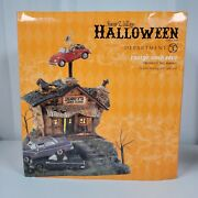 Dept 56 Snow Village Halloween Animated Rustys Used Cars . works Perfectly,