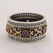 Handmade Boho Vintage Silver Carved Wide Ring Crystal Turkish Jewelry Women Gift