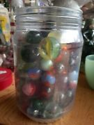 Jar Of Antique Vintage Glass Marbles Shooters Calico Purie