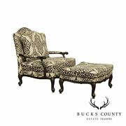 Ethan Allen French Louis Xv Style Wide Seat Bergere Chair With Ottoman