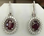 4.30 Tcw Ruby And Diamond Drop/dangle Solid White 18kt Gold Earrings