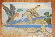 Vintage American Hook Hooked Duck Rug Size 2and039x3and0391and039and039