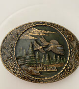 Solid Brass Ducks Mens Belt Buckle By Indiana Metal Craft Made In Usa Gold