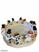 Partylite 12 Dancing Snowman Frolicking Frostyand039s 3 Wick Candle Holder Ceramic